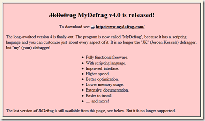 JkDefrag thumb1 Four Free Windows 7 ready defragmenter