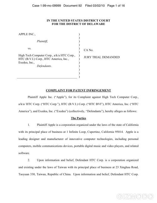 htc apple infringement doc HTC defends their own innovations in Apple patent lawsuit